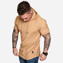 Men Patched Drawstring Hooded Tee