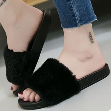 Faux Fur Open Toe Slippers