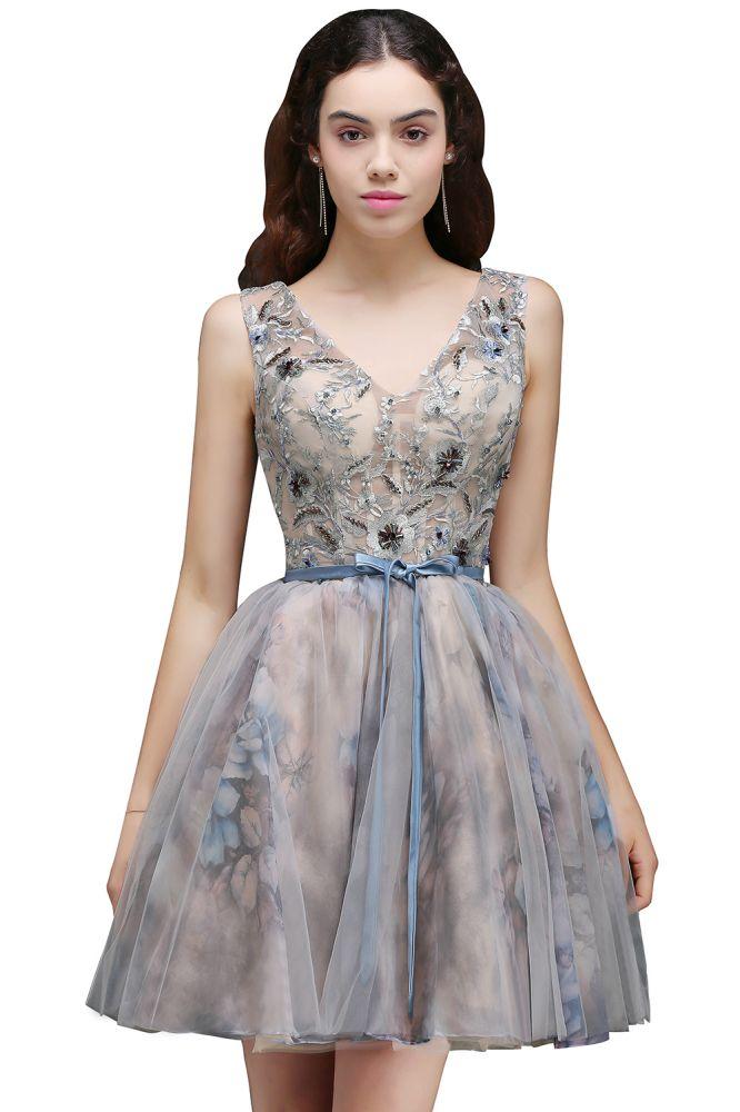 ANN | Vestido de regreso a casa lindo corto con apliques