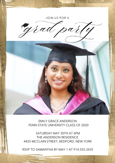 Graduation Invitations 5x7 Cards, Premium Cardstock 120lb, Card & Stationery -Grad Party Painted Border by Tumbalina