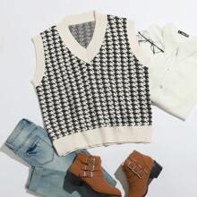 Plus Houndstooth Sweater Vest