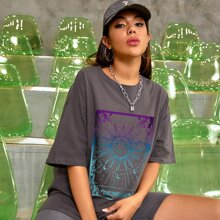 Abstract Sun And Letter Graphic Oversized Tee
