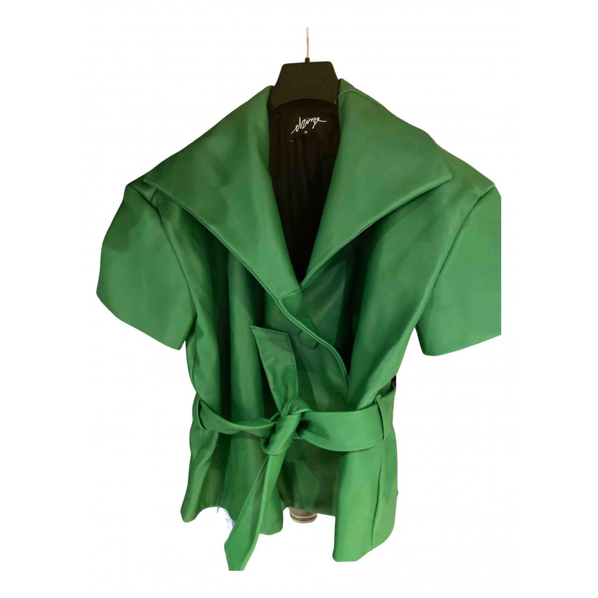 Elzinga - Veste   pour femme en cuir - vert