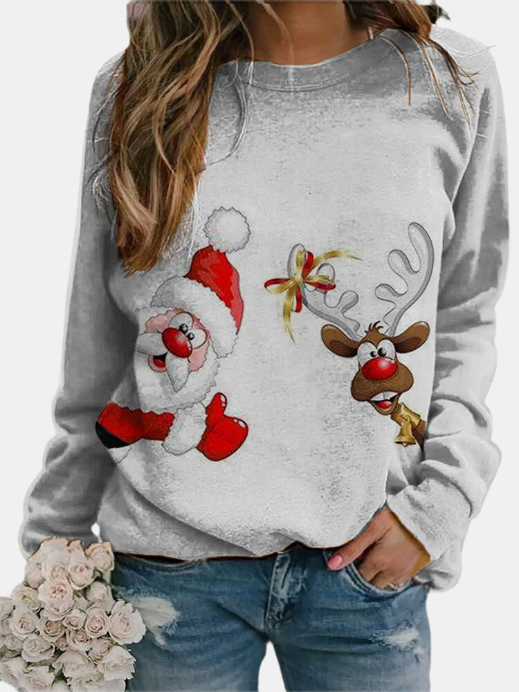 Christmas Santa Claus Elk Print Plus Size Casual T-shirt