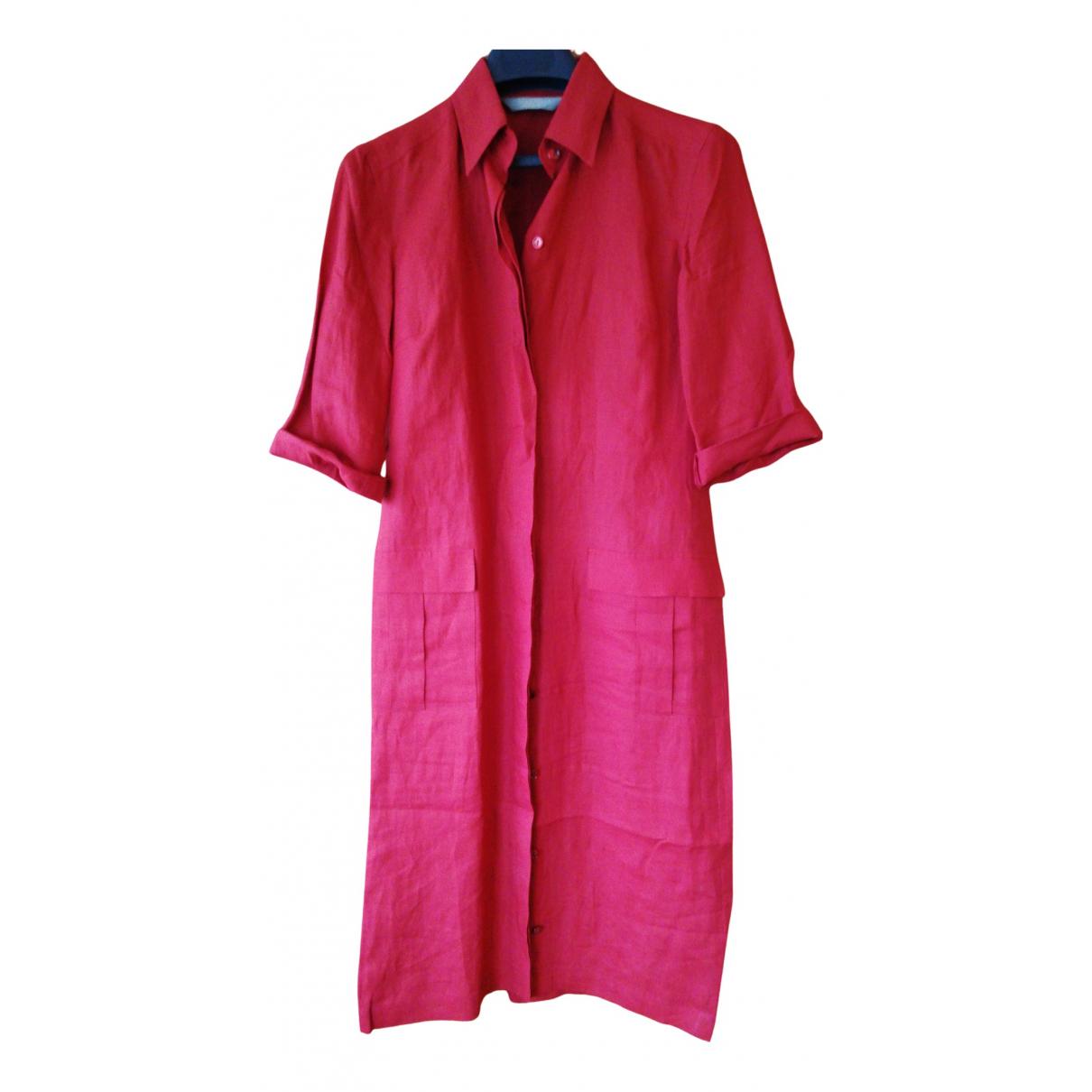 Max Mara - Robe   pour femme en lin - rouge