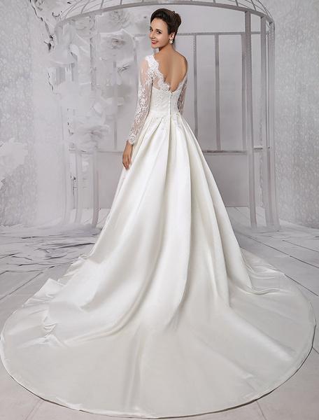 Milanoo Vestido de novia de encaje con escote barco y cuentas