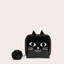 Pom-pom Decor Cat Print Zip Around Purse