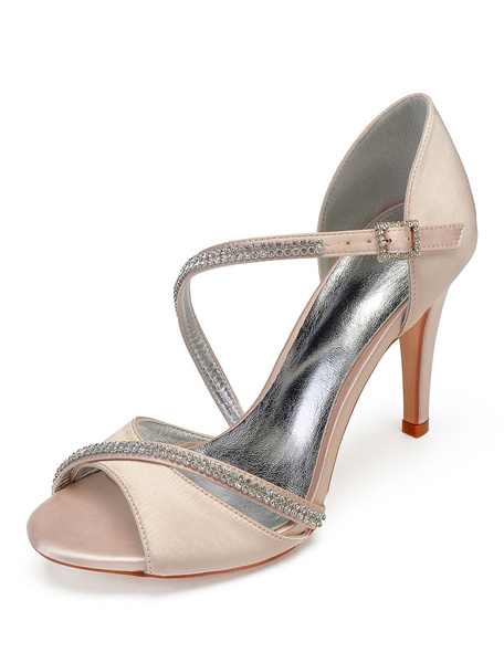 Milanoo Ivory Wedding Shoes Satin Peep Toe Rhinestones Strappy Mother Shoes High Heel Bridal Shoes