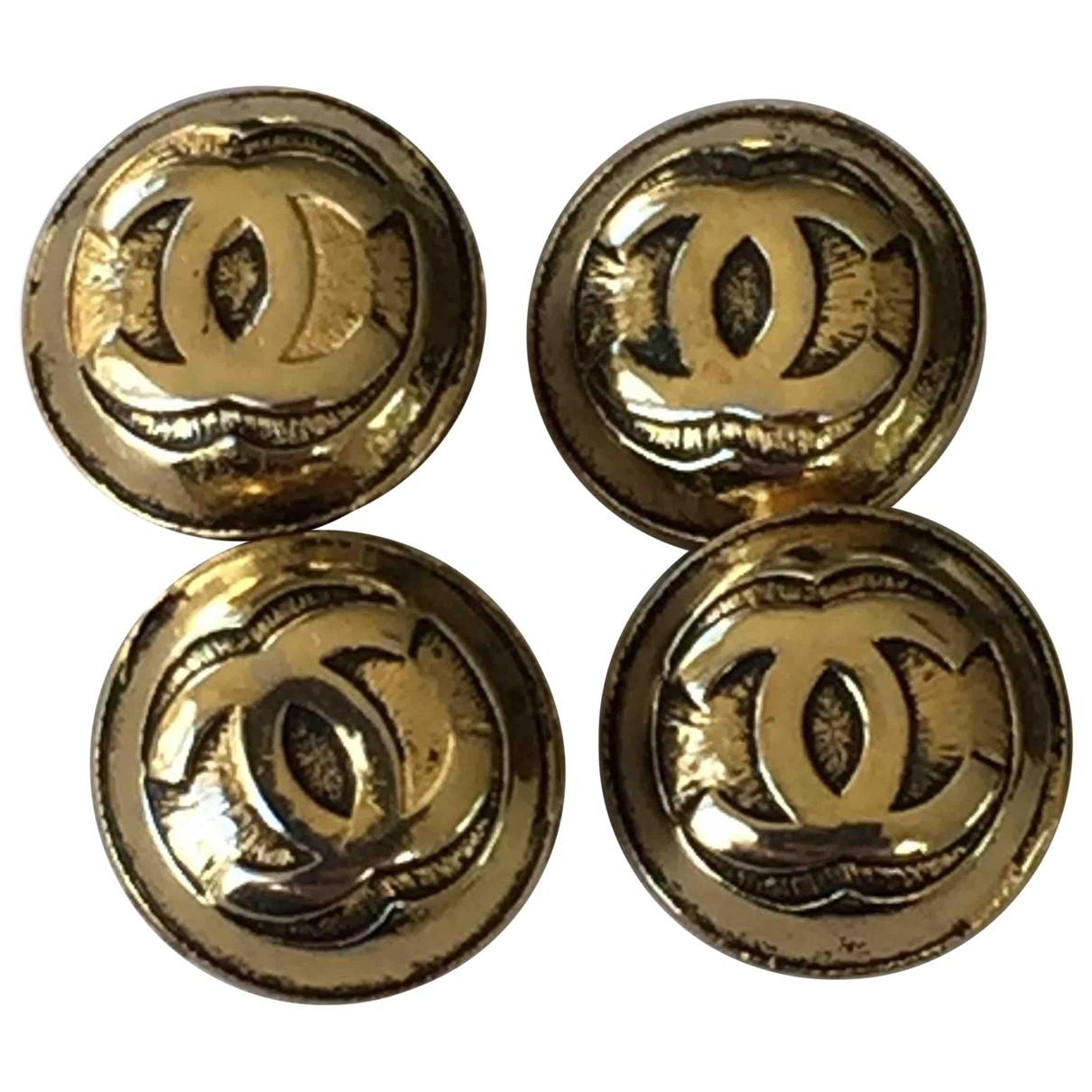 Chanel - Boutons de manchette CC pour homme en metal - dore