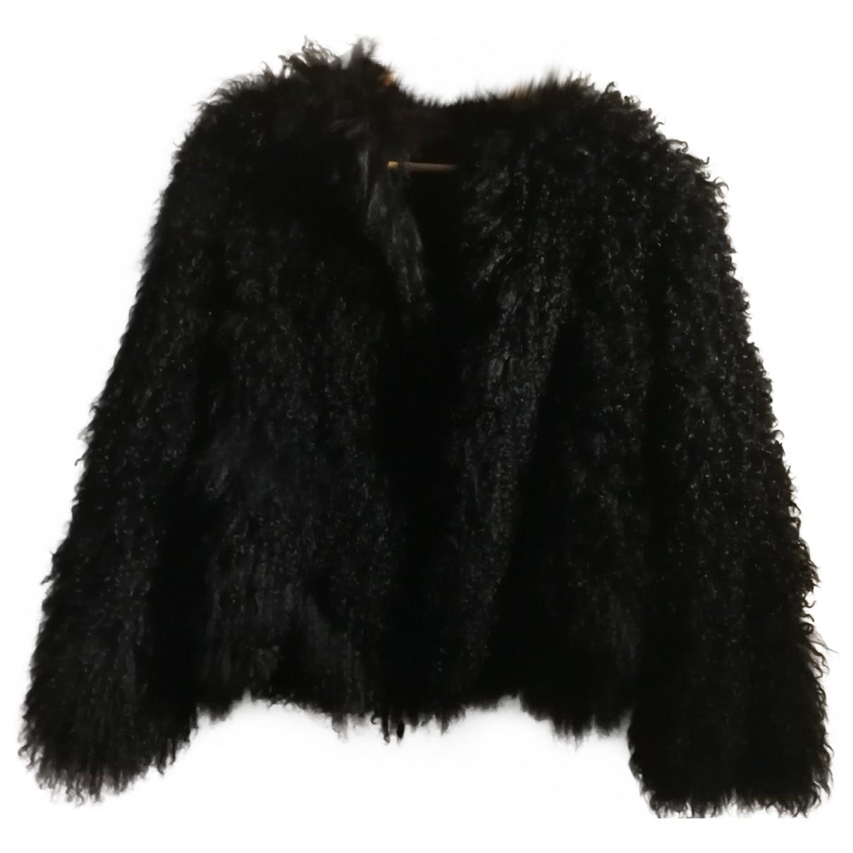 - Manteau Oversize pour femme en agneau de mongolie - noir