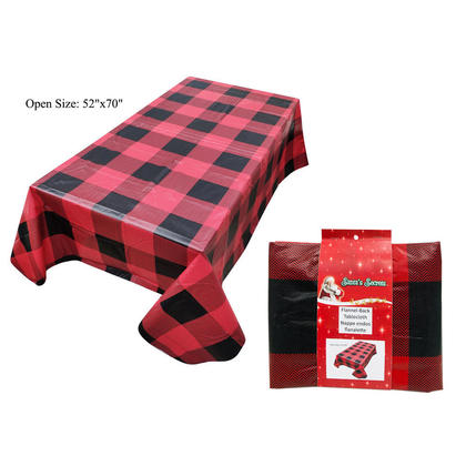 Santa's Secrets Buffalo Plaid Printed PEVA Tablecloth, 52