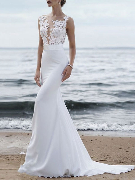 Milanoo Wedding Dress 2020 Jewel Neck Sleeveless Mermaid Beach Wedding Bridal Gowns With Sweep Train