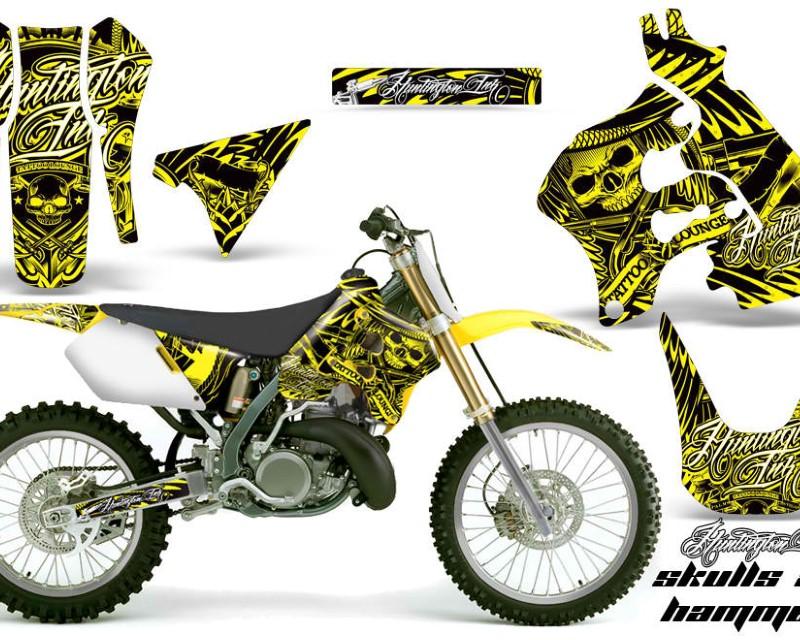 AMR Racing Dirt Bike Graphics Kit Decal Sticker Wrap For Suzuki RM125 1996-1998 HISH YELLOW