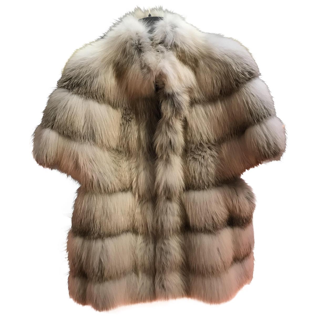 Blancha - Manteau   pour femme en renard - gris