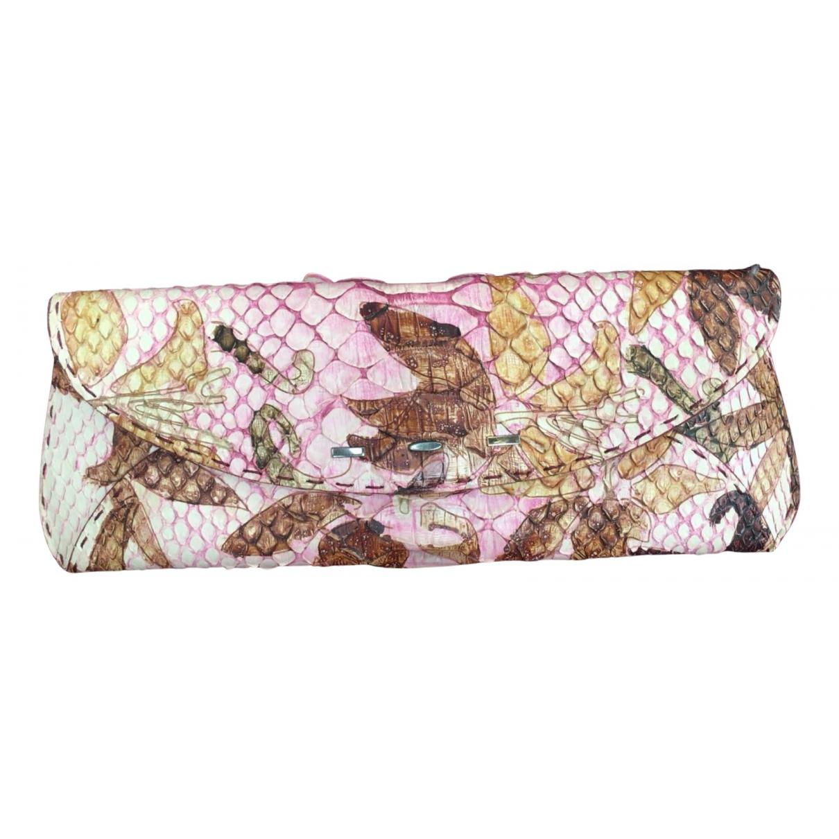Vbh - Pochette   pour femme en python - rose