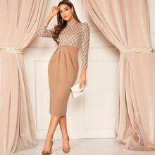 Geo Sequin Bodice Pleated Combo Dress