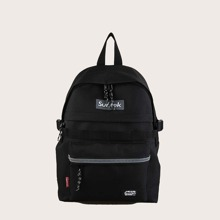 Men Letter Patch Large Capacity Backpack