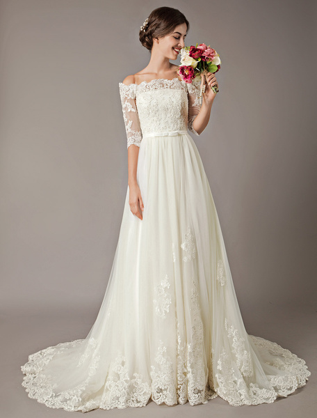 Milanoo Wedding Dresses Ivory Off The Shoulder Half Sleeve Lace Beaded Bow Sash Tulle Bridal Gowns With Train