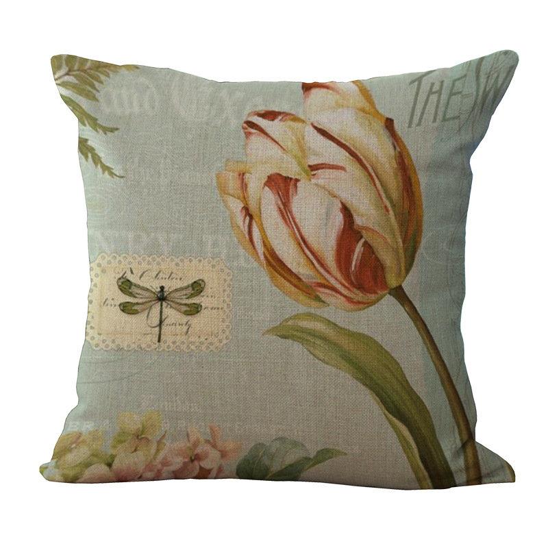 Retro Flowers Sofa Pillowcase Decorative Square Linen Cushion Cover