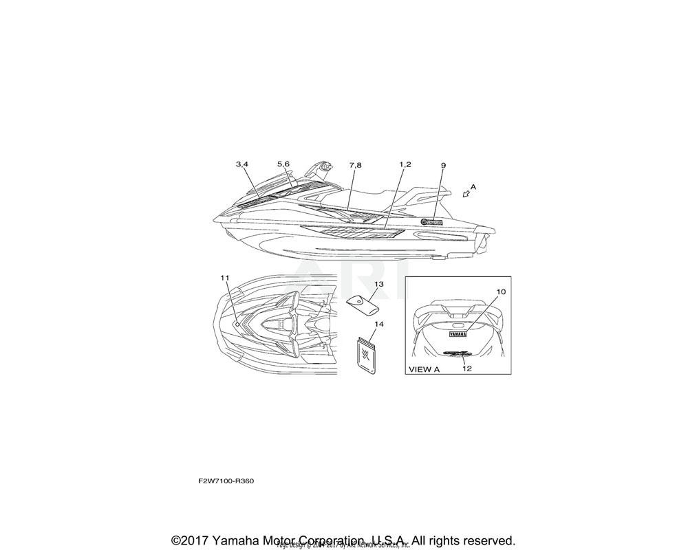 Yamaha OEM F2W-U417H-50-00 GRAPHIC 7 (LH)