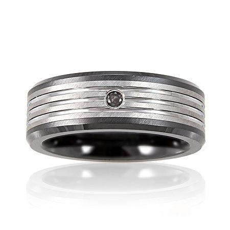 Men's Diamond-Accent Band Tungsten, 13 1/2 , No Color Family
