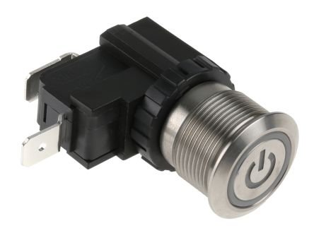 RS PRO Single Pole Single Throw (SPST) Momentary Push Button Switch, IP67, 19.1 (Dia.)mm, Panel Mount, Power Symbol, (20)