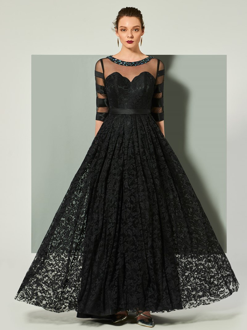 Ericdress A Line Half Sleeve Lace Evening Dress With Zipper-Up