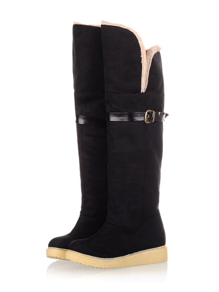 Milanoo Suede Winter Boots Women Round Toe Buckle Detail Over The Knee Boots Snow Boots