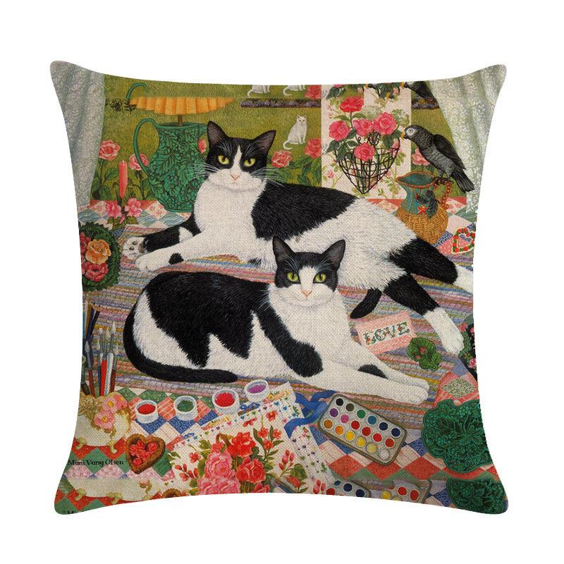 Vintage Cat Printed Linen Cotton Cushion Cover Home Sofa Decor Office Car Seat Throw Pillowcases