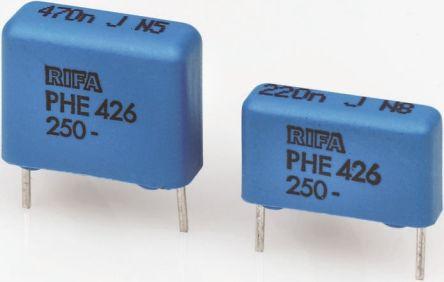 KEMET 22nF Polypropylene Capacitor PP 200 V ac, 400 V dc ±5% Tolerance Through Hole PHE426 Series (10)
