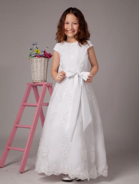 Milanoo Vestidos de primera comunion para niñas de color blanco con escote redondo