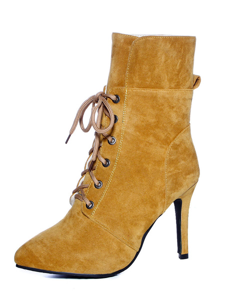Milanoo Women Ankle Boots Pointed Toe High Heel Stiletto Lace Up Nubuck Brown Winter Booties
