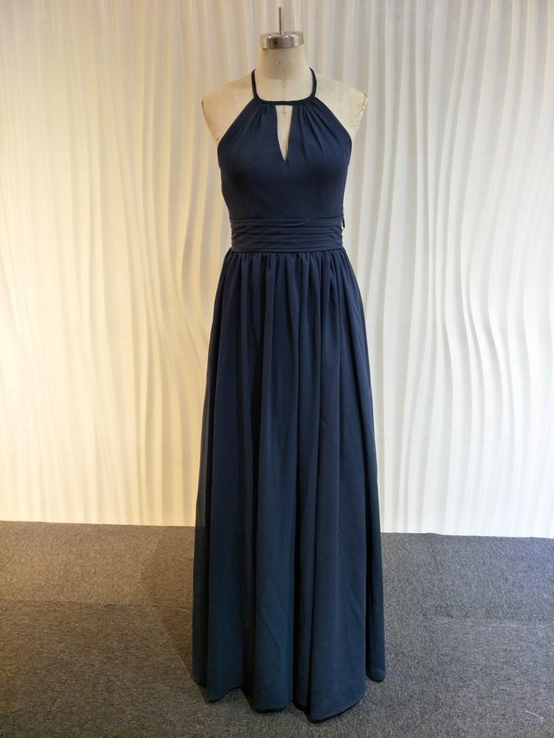 Ericdress Halter Hollow A-Line Pleats Bridesmaid Dress