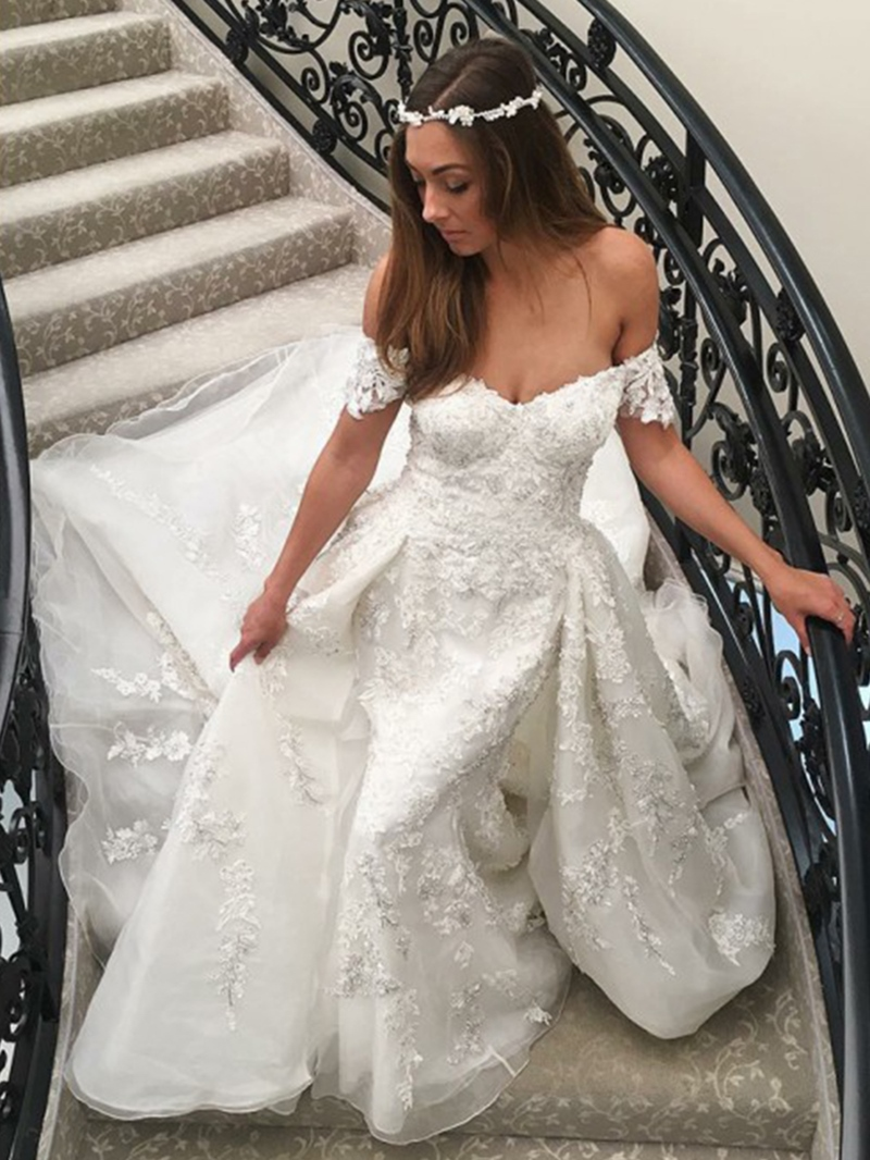 Ericdress Appliques Off-The-Shoulder Watteau Train Wedding Dress