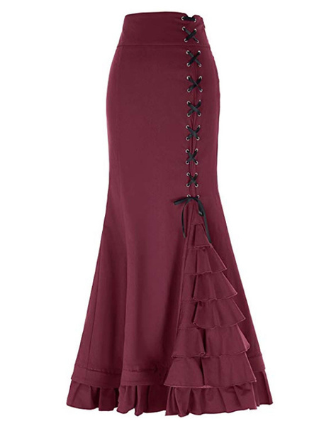 Milanoo Vintage Mermaid Skirt Lace Up Layered Ruffles Gothic Maxi Skirt
