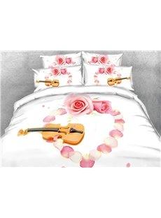 Violin and Heart Shaped Pink Rose Petal Digital Printing Cotton 3D 4-Piece Bedding Sets/Duvet Cover