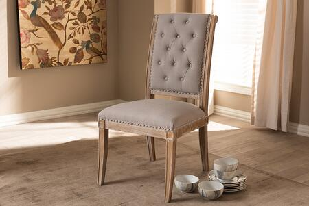 TSF-7711-BEIGE-DC Baxton Studio Charmant French Provincial Beige Fabric Upholstered Weathered Oak Finished Wood Dining