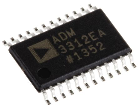 Analog Devices ADM3312EARUZ, Line Transceiver, RS-232 3-TX 3-RX, 3.3 V, 24-Pin TSSOP (5)