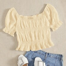 Frill Trim Puff Sleeve Shirred Detail Top