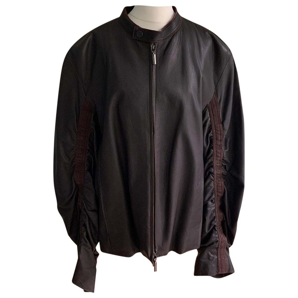 Armani Collezioni - Vestes.Blousons   pour homme en cuir - marron