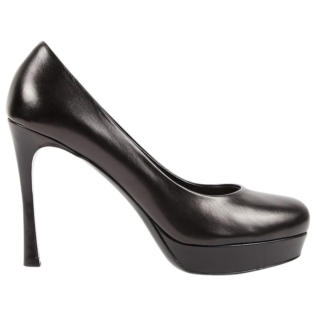 Yves Saint Laurent Trib Too Black Leather Heels for Women 40.5 EU