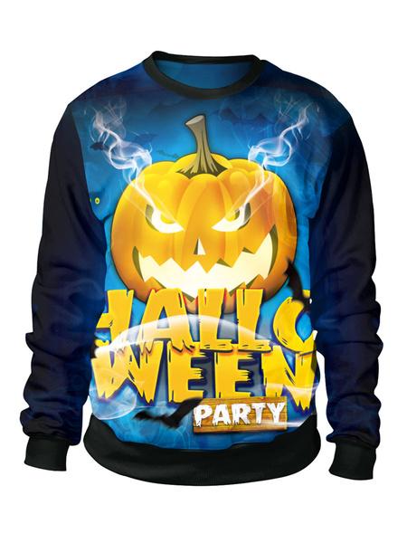 Milanoo Halloween Tops Women And Men Blue Unisex Top Polyester Top Holidays Costumes