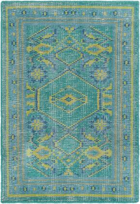 Zahra ZHA-4000 2' x 3' Rectangle Traditional Rugs in Teal  Lime  Olive  Dark Green  Dark Blue