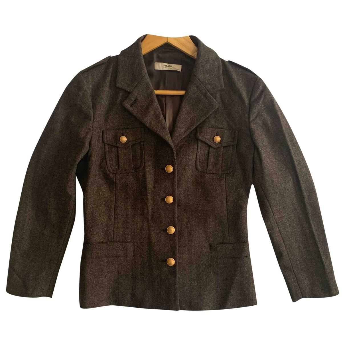 Prada - Veste   pour femme en laine - marron