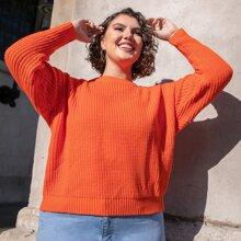 Plus Neon Orange Ribbed Knit Sweater