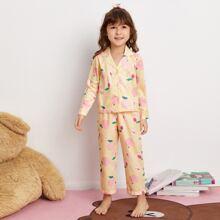 Schlafanzug Set mit Pfirsch und Streifen Muster