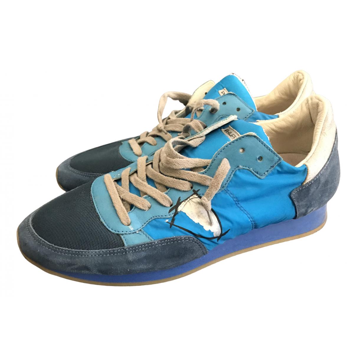 Philippe Model - Baskets   pour homme en toile - bleu