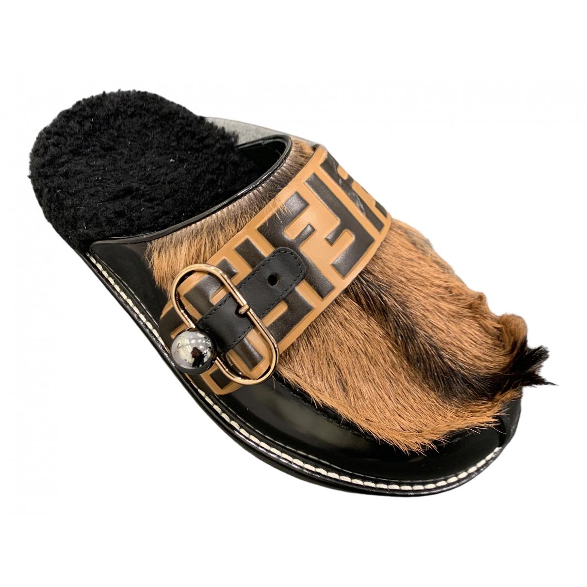 Fendi N Brown Pony-style calfskin Mules & Clogs for Women 38 EU