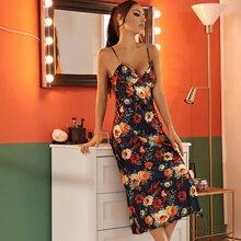Allover Floral Print Split Hem Satin Cami Dress