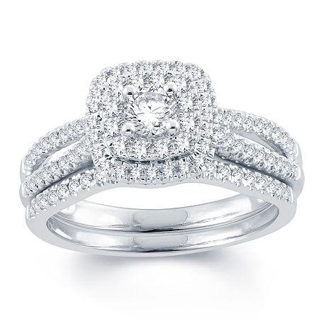Modern Bride Signature Womens 3/4 CT. T.W. Genuine White Diamond 14K Gold Bridal Set, 6 1/2 , No Color Family